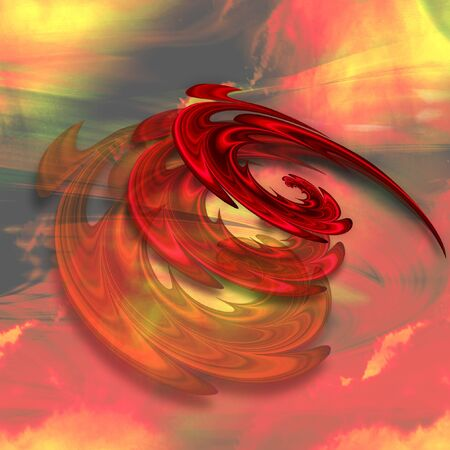 Abstract fire vortex with rotating spirals of flames. Red, yellow and black background with three layers of spirals. 3d illustration Stock Photo