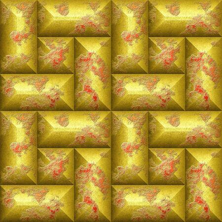 シームレスなレリーフ 3 d のモザイク パターン傷金と赤の斜め長方形になります。 写真素材