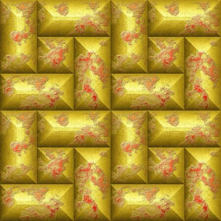 Seamless relief 3d mosaic pattern of scratched gold and red beveled rectangles.