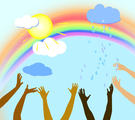 Background with sky, sun, clouds, rain and hands Ilustrace