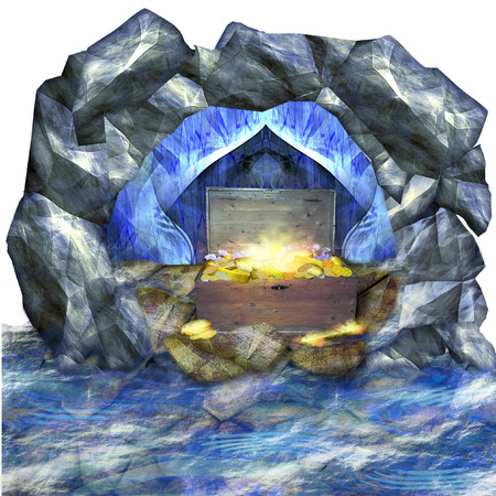 Cave surrounded by water. Treasure in the wooden chest. Glowing gold bricks, coins, diamonds in the chest. 3d illustration