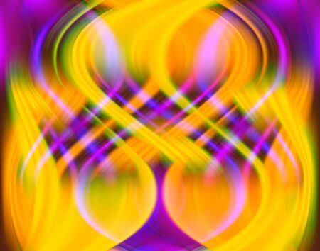 fiery: Yellow, orange, purple and pink abstract rippling pattern of blurred shapes and gradients