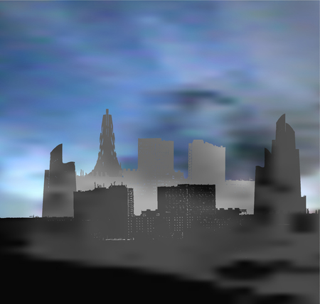 Landscape with panoramic city infested with smog. Dark landscape with skyscrapers, clouds and polluted air Illustration