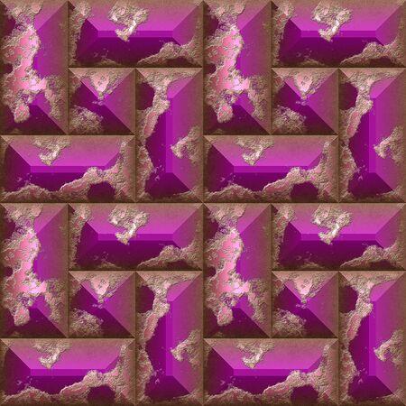 シームレスな救済粒ピンク斜め四角形の 3 d のモザイク パターン。ピンクのシームレスな風化石パターン