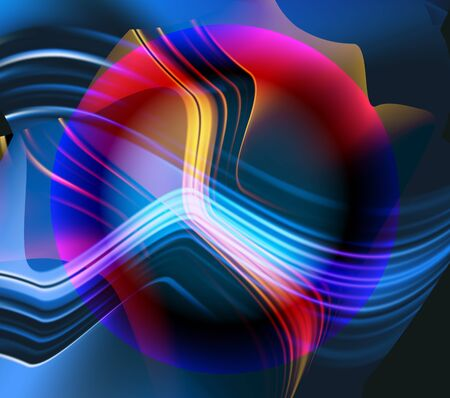rounded circular: Abstract glowing blurred background with sphere, lines and waves. Red, yellow, blue and black intertwined lined and circular object Illustration