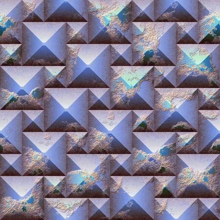 シームレスな救済傷青とオレンジ色のピラミッド型のブロックの 3 d のモザイク パターン。青は風化粒傷テクスチャとシームレスな背景です。3 d レ