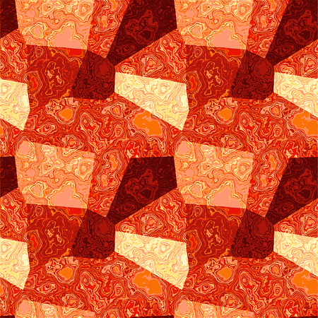 Marbled background of polygons. Red, pink and yellow veined marble texture Illusztráció