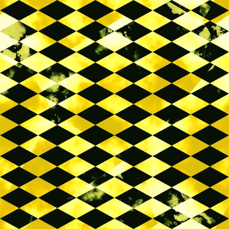 Abstract gemarmerd mozaïekpatroon van afgeschuinde vierkanten. Zwarte en gouden geaderde marmeren achtergrond met vlekken Stockfoto