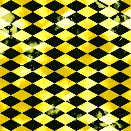 Abstract marbled mosaic pattern of beveled squares. Black and gold veined marble background with spots