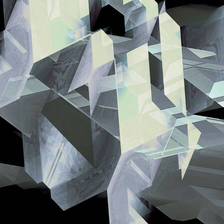 Abstract geometric background of transparent polygonal shapes. Black, gray and white scratched background reminiscent of modern architectural features. 3d illustration