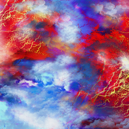 Dramatic natural stylized background with sky, storm clouds, lightning and heavy rain. Red, blue, yellow and white background with thunderstorm. 3d illustration Stock Photo