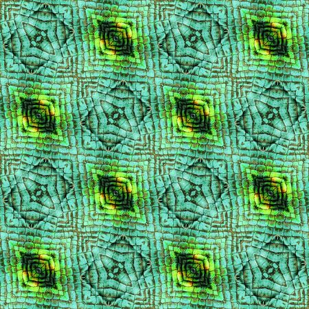 Abstract seamless wrinkled pattern of scales resembling snake skin. Green, black, orange and yellow background with reptile texture