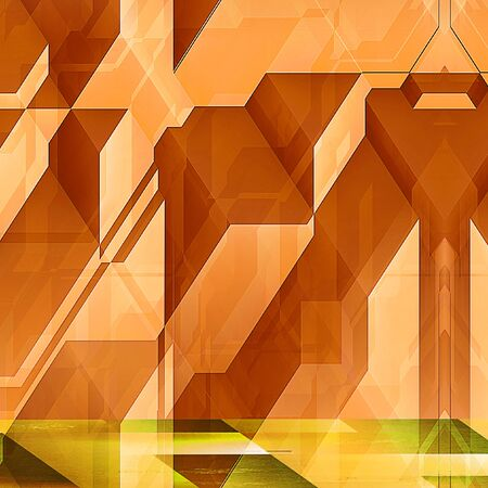 Abstract modern futuristic background with orange blocks. Orange and yellow background with lines and prisms resembling modern architectural features. 3d illustration Stock Photo