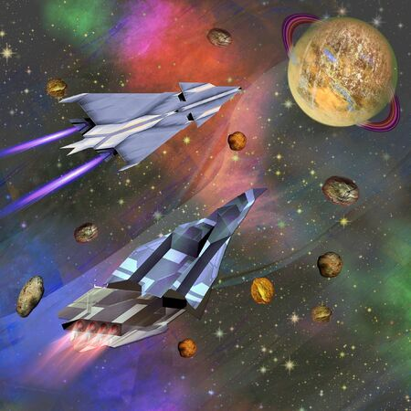 meteorites: Two spaceships flying to an unknown planet. Universe with a celestial body and a swarm of meteorites. 3d illustration