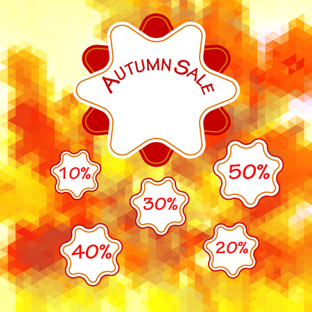 Autumn polygonal background of triangles with label, numbers and text. Red, yellow and white autumn background with discount percentages Illustration