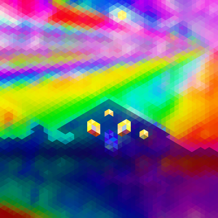 Abstract polygonal landscape with house and aurora. Dramatic sky with spectral rays and house with glowing windows Illustration