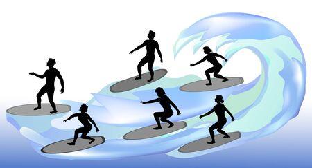 波にサーファーのシルエット。水の上の男の子と女の子のサーフィン