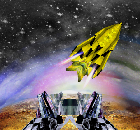 Space shuttle starting from the spaceport. Spaceship flying off the cosmic base into space. 3d illustration