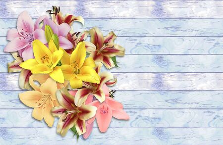 Bouquet of lilies on a grunge wooden background. Pink, red, yellow and white flowers on a light blue and white wooden cracked background Фото со стока