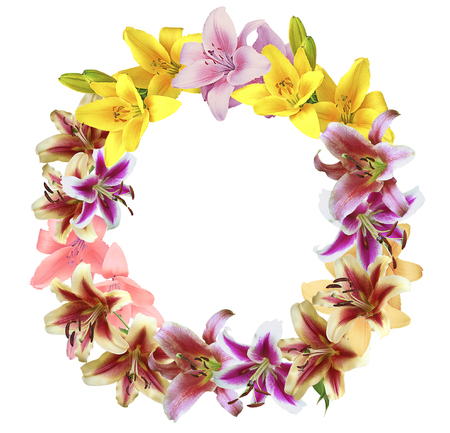 Wreath of lilies on a white background. Red, pink, yellow and green wreath of flowers