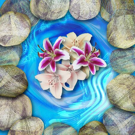 Natural lagoon with round stones and bouquet of lilies. Blue pond with beige, gray, brown and white rounded pebbles and red, pink, and white lilies