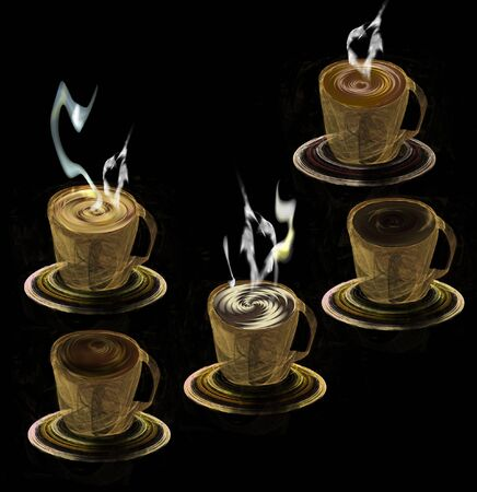 Five cups with different kinds of coffee. Fractal cups with saucers with hot coffee and chocolate drink on a black background. 3d illustration, Фото со стока