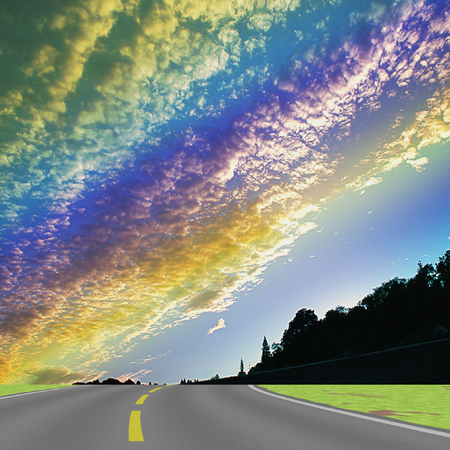 Landscape with road, silhouettes of trees, grass and rainbow clouds. Highway with dramatic sky, clouds and trees