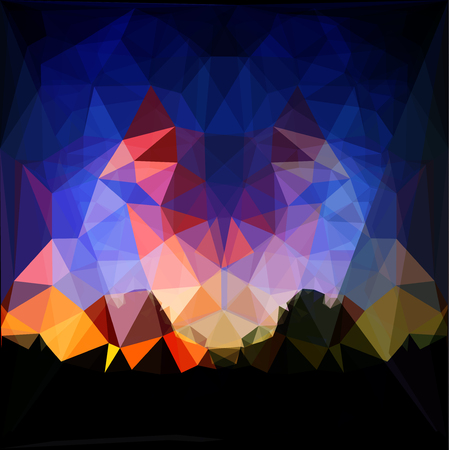 Abstract background of polygons resembling landscape with dramatic sky and mountains. Red, dark blue, orange and yellow background with silhouettes of mountains Иллюстрация