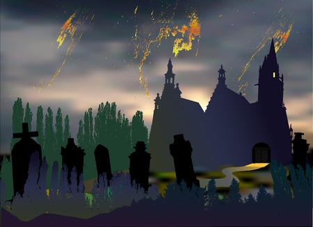 Scary halloween landscape with cemetery, tombstones, old church and silhouettes of trees. Dark night landscape with dramatic sky, clouds, chapel and graves Иллюстрация