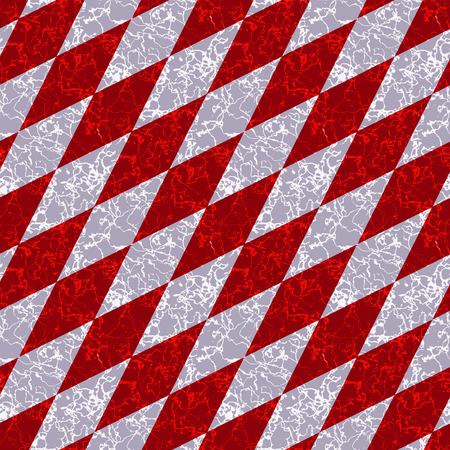 Abstract marbled diamond pattern with white and red veins. Red, gray and white marble pattern of beveled squares