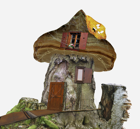 Fairy-tale house of stump with windows, spider web and leaf. Wooden house for dwarfs. 3d illustration Stock Photo