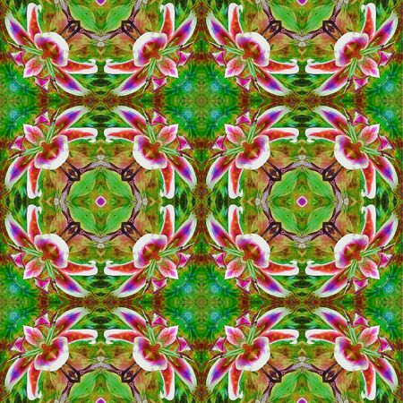 Seamless exotic pattern of tropic flowers. Kaleidoscopic red, green, white, pink and orange pattern with orchids Фото со стока
