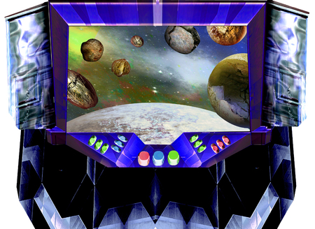 Space ship control panel with window looking into space. Spacecraft cabin with controls, meteorites and unknown planet. 3d illustration Фото со стока