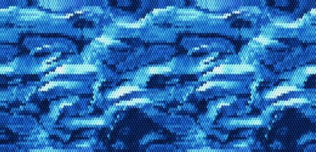 Abstract wavy background of cubes resembling water surface. Blue, white and dark blue rippling mosaic background