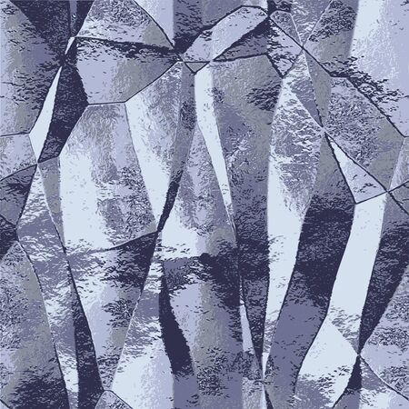 Abstract metal folded background of silver wrinkled foil. Silver, white and gray polygonal pattern resembling brushed metal
