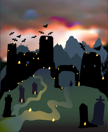 Dark scary halloween landscape with ruins of castle, gate, cemetery, bats and dramatic sky. Night landscape with silhouettes of tombstones, confusing lights and sunset