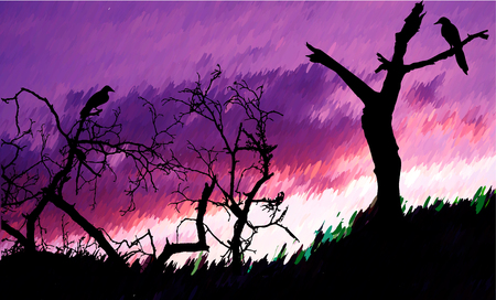 Nostalgic autumn landscape with bare trees and birds. Dramatic sky with purple and pink clouds with silhouettes of trees