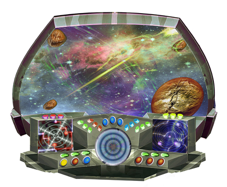 Space flight simulator with control panels and screen. Spacecraft cabin with control buttons, radar, meteorites and unknown planet. 3d illustration