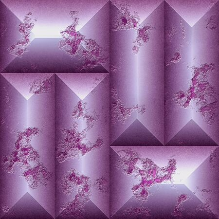 Seamless relief scratched pattern of rectangular beveled blocks. Pink, purple, silver and white seamless mosaic pattern of weathered tiles. 3d rendering