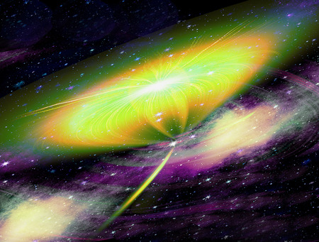 Abstract nebula with stars and supernova explosion. Black, purple, white, orange, green and yellow burst in space. 3d illustration