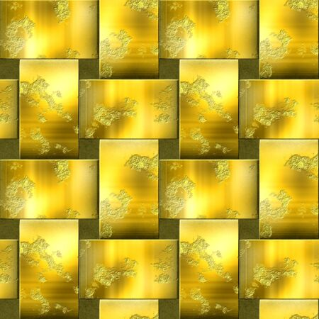 grille: Seamless metal pattern with intertwined bars. Gold and brown scratched background of brushed metal. 3d rendering Stock Photo