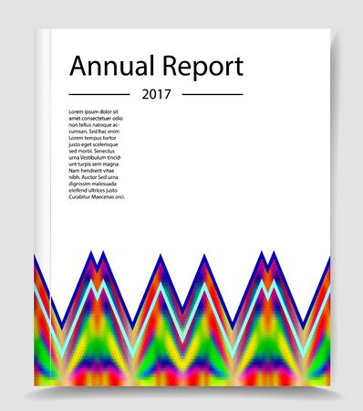 Annual report infographics template with abstract triangular pattern. Paper background with geometric polygonal pattern and text
