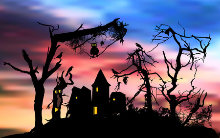 Scary halloween house in a terrifying forest with owl and birds. Halloween landscape with haunted forest, abandoned ghost house and dramatic sky