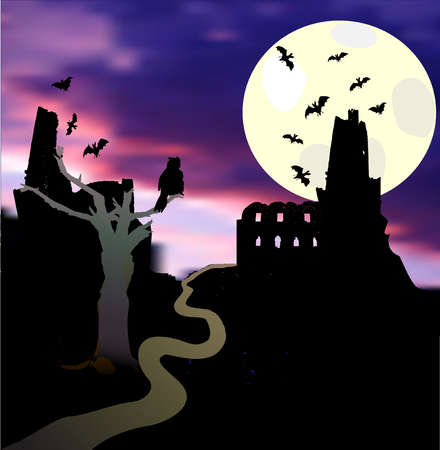 Halloween landscape with moonlight, castle, bats, tree, owl and sunset. Dark scary castle with tower, flying bats and road