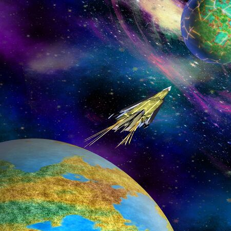 Spacecraft starting from Earth on an unknown planet. Space expedition flying from Earth to space. 3d illustration Фото со стока