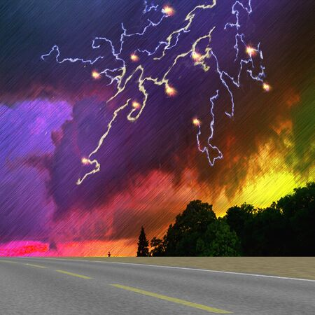 Landscape with road, silhouettes of trees, storm clouds and lightning. Dramatic dark sky with downpour, lightning and dark landscape. 3d illustration