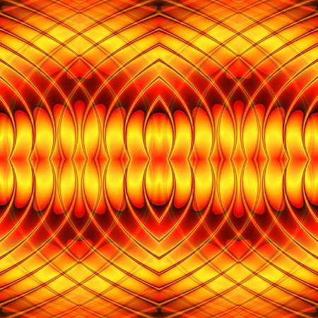 Abstract seamless wavy background with intertwined lines and hearts. Red and gold seamless pattern with oval shapes creating an illusion of movement. 3d rendering Фото со стока