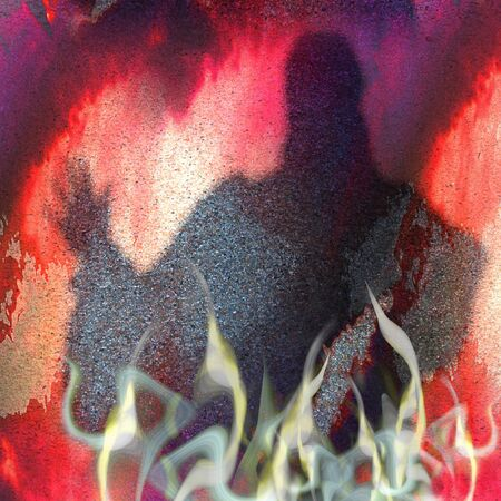 Halloween grunge background with warlock and flames. Red, purple and white scary scratched background with smoke, fire and silhouette of mysterious person Фото со стока