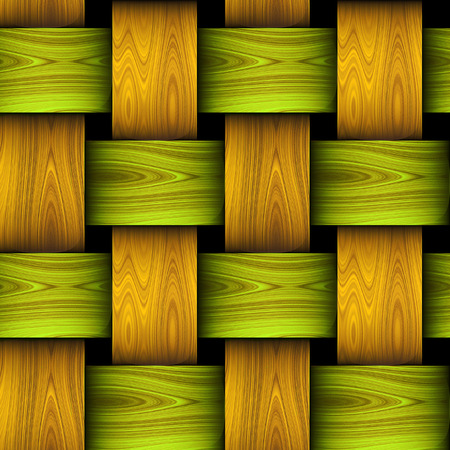 Wooden seamless pattern resembling basket . Green, orange and brown braided wooden texture with wavy pattern. 3d rendering