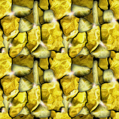 Seamless relief stone pattern with gold nuggets. Gold and yellow cracked ore background with sparkling nuggets. 3d illustration Stok Fotoğraf